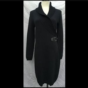 Ralph Lauren Shawl Collar Faux Wrap Sweater Dress